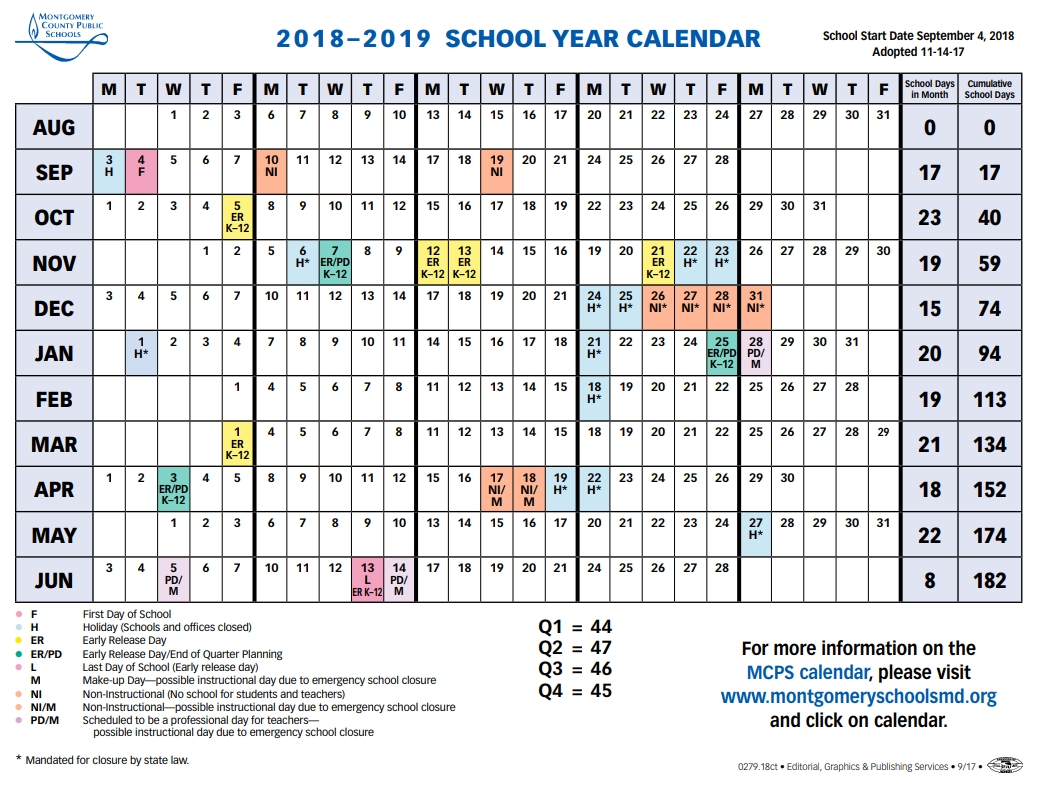 Mcps Sets 2018 2019 Calendar, Shortens Spring Break – The Current W&m Calendar 2019