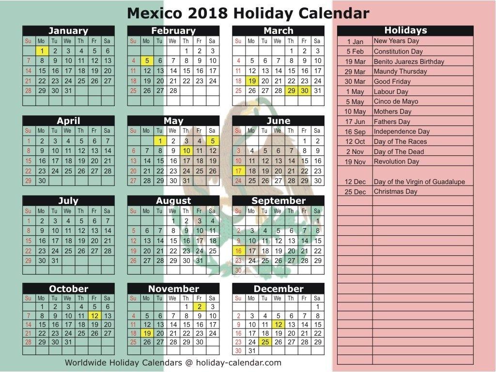 Mexico Calendar 2018 | Aigb Calendar 2019 Mexico