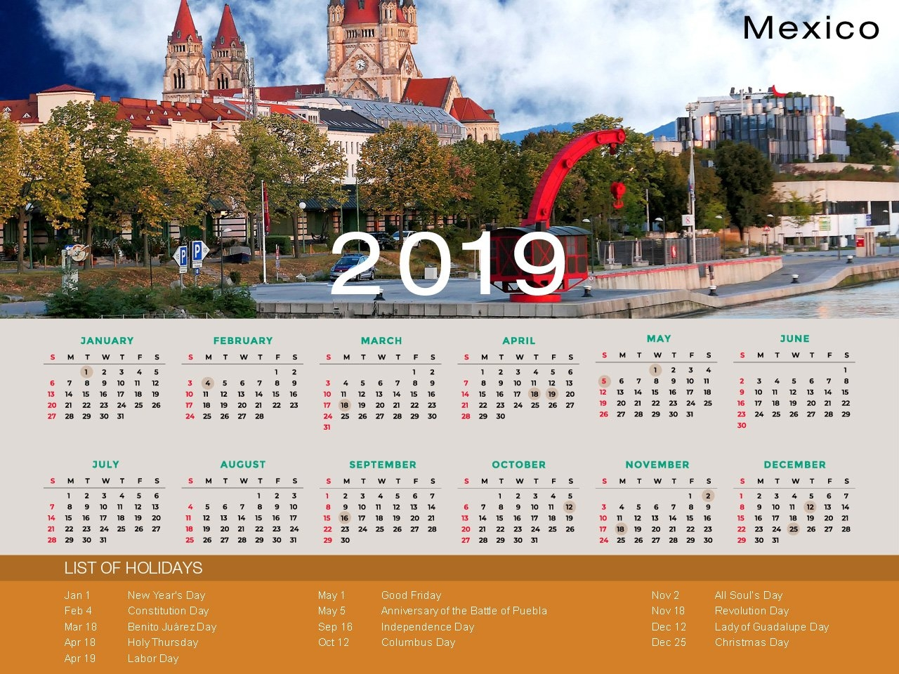 Mexico Holiday Calendar 2019 Calendar 2019 Mexico