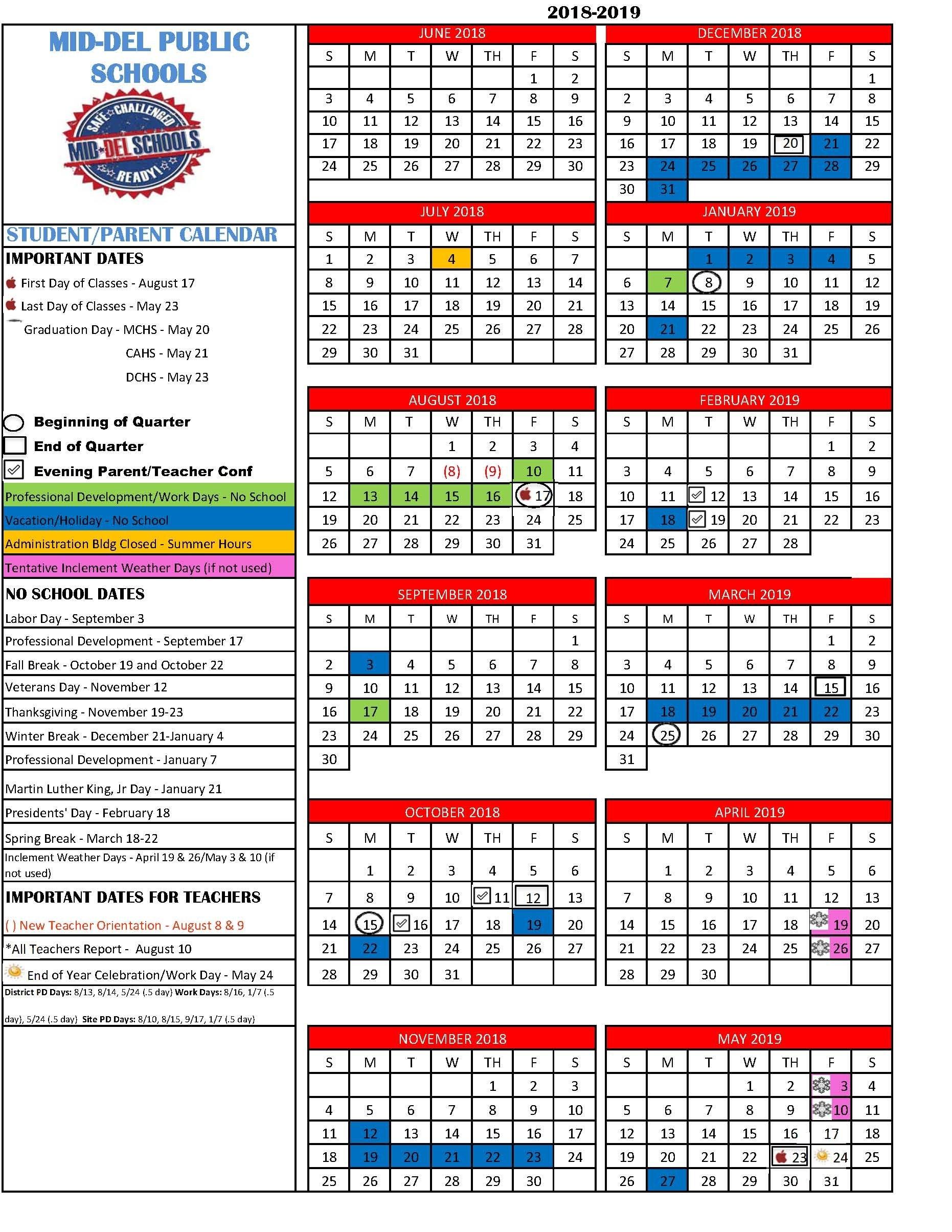 Mid-Del School District Calendar 2019-19