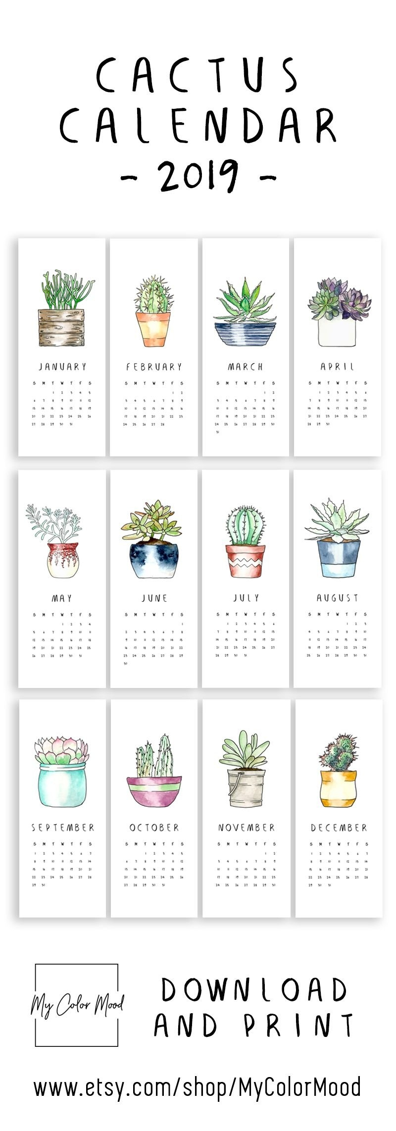 Modern Cactus Calendar 2019 For All The Succulent Lovers! These Calendar 2019 Small