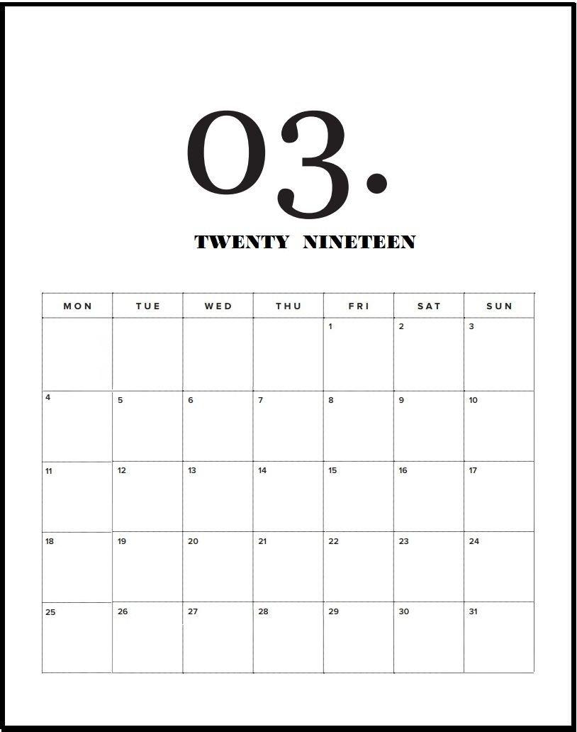Modern Minimal March 2019 Calendar   Calendar 2019   Pinterest Calendar 2019 Agenda