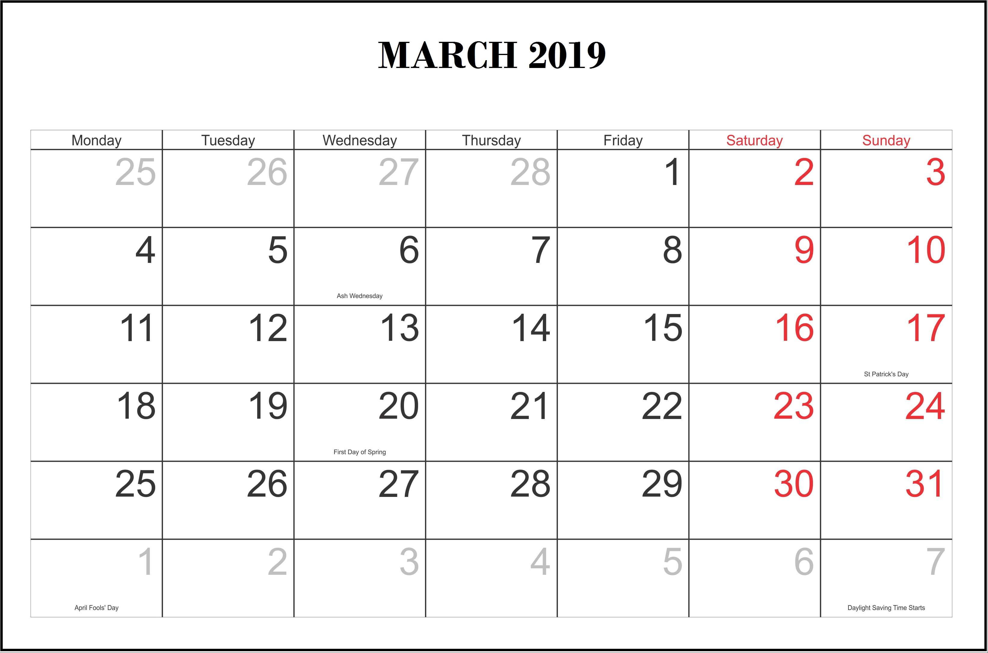 Monthly 2019 Calendar Templates March | Monthly Calendar Templates Calendar 2019 Schedule