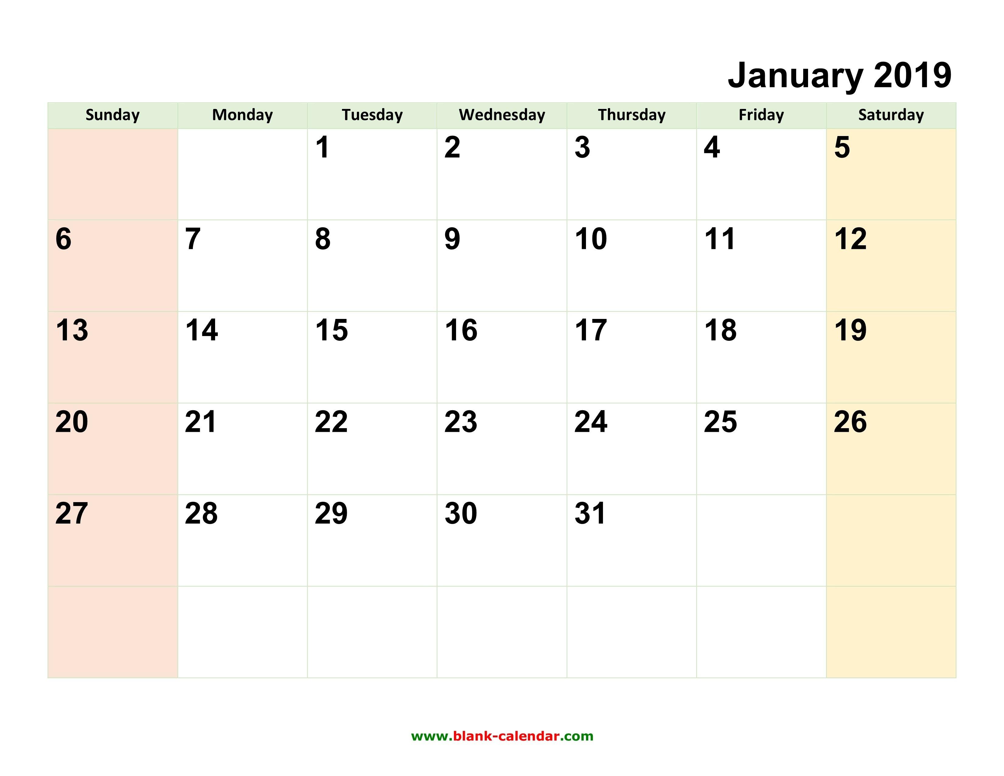 Monthly Calendar 2019 | Free Download, Editable And Printable Calendar 2019 Editable Word
