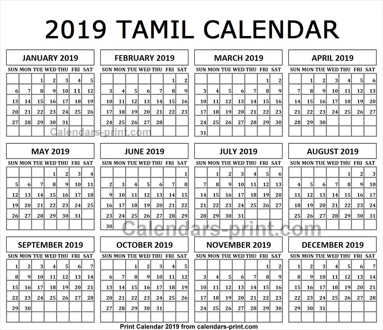 Monthly Calendar 2019 Tamil Printable Template With Notes | Holidays Calendar 2019 Tamil