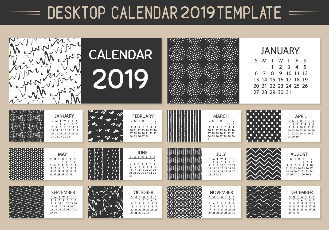 Monthly Desktop Calendar 2019 Vector Template - Download Free Vector Calendar 2019 Desktop
