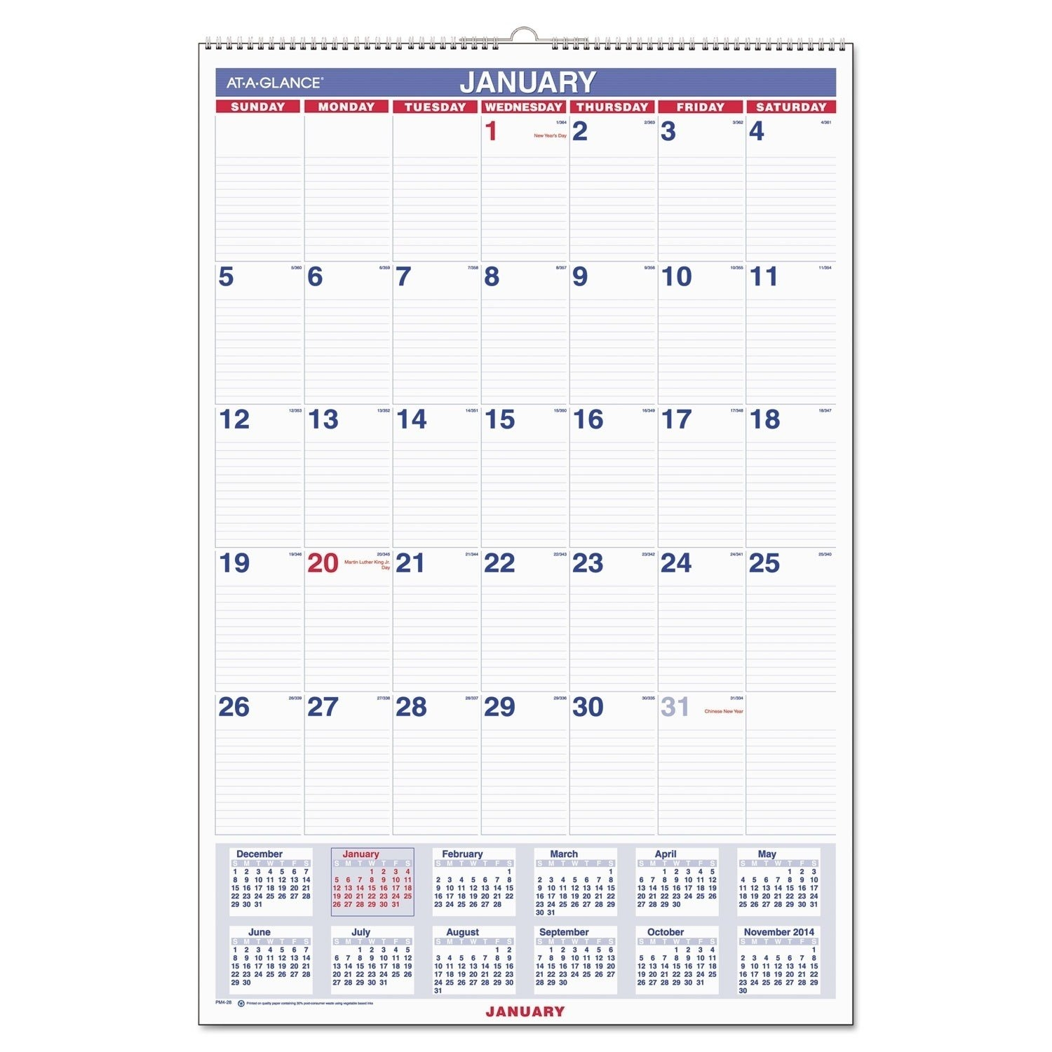 Monthly Wall Calendar With Ruled Daily Blocks, 20 X 30, White, 2019 Calendar 2019 At Walmart