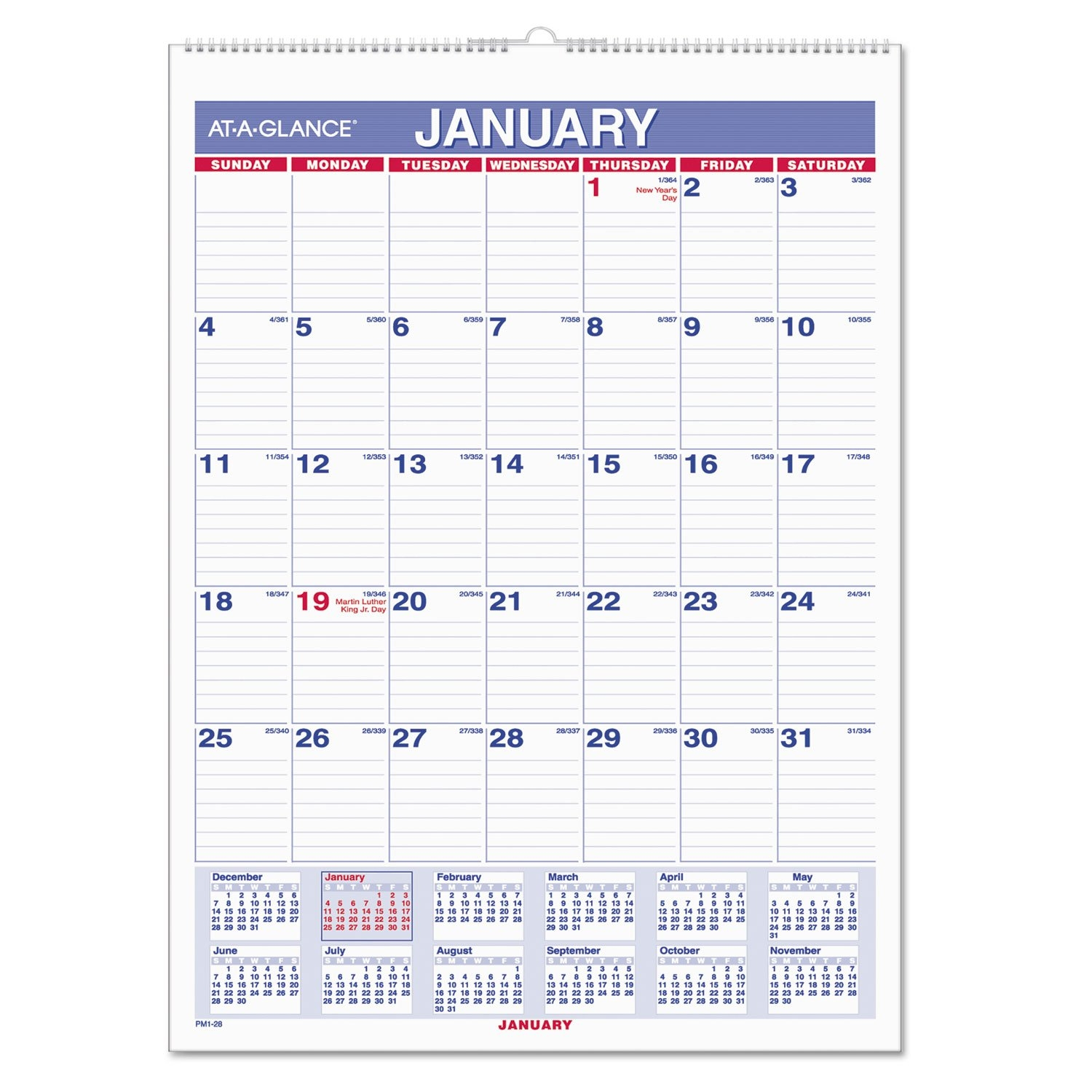 Monthly Wall Calendar With Ruled Daily Blocksat-A-Glance 2019 Calendar 8 1/2 X 11