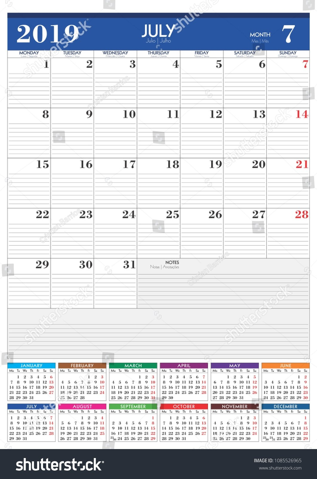 Monthly Wall Planner 2019 Calendar A 3 Stock Vector (Royalty Free July 7 2019 Calendar