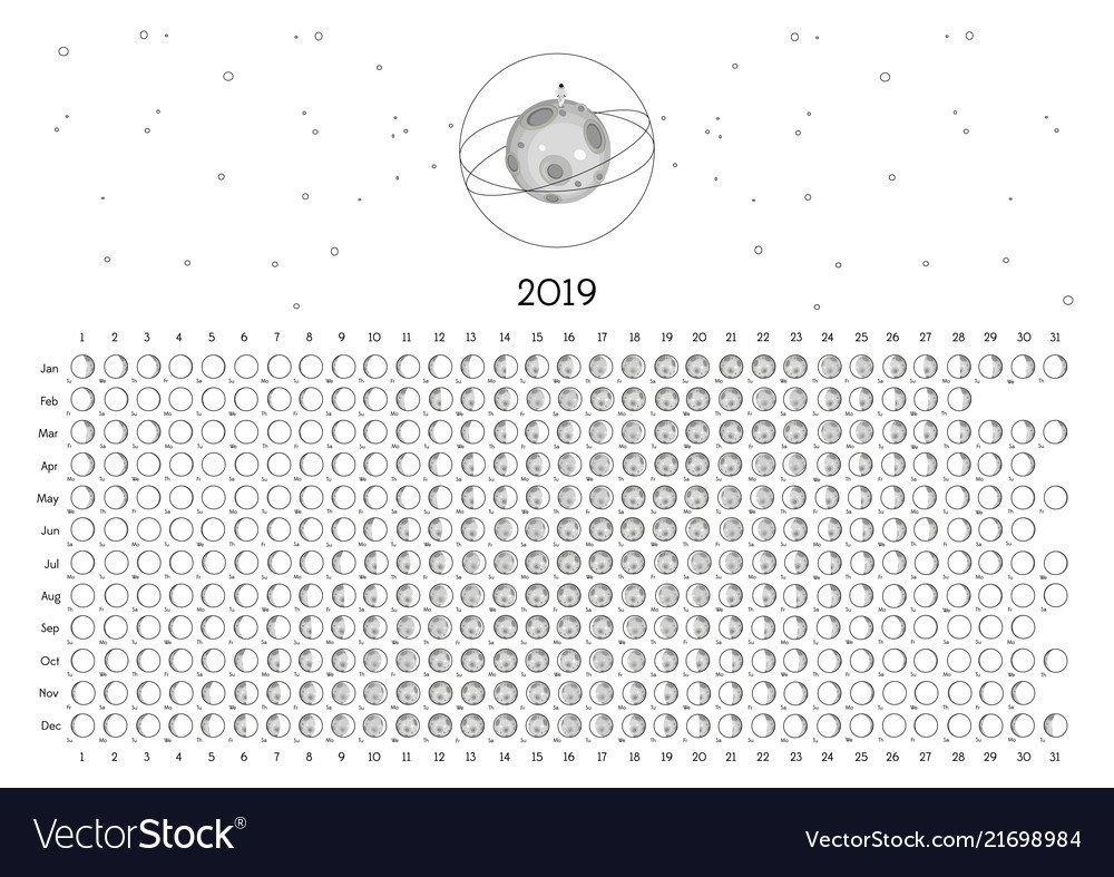 Moon Calendar 2019 Southern Hemisphere Royalty Free Vector Calendar 2019 Moon