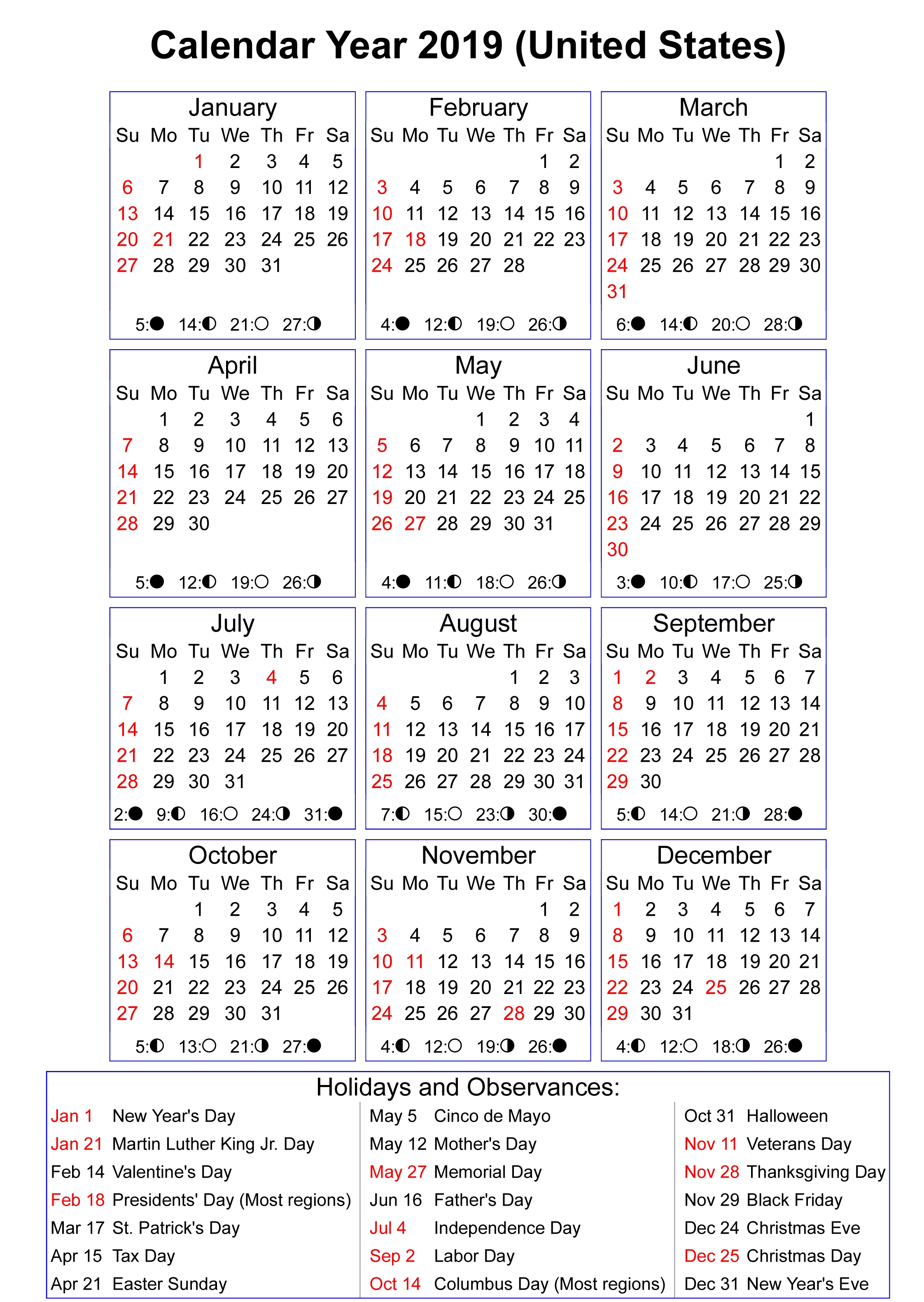 Moon Phases Calendar 2019 With Holidays | Calendar 2019 In 2019 Calendar Year 2019 United States