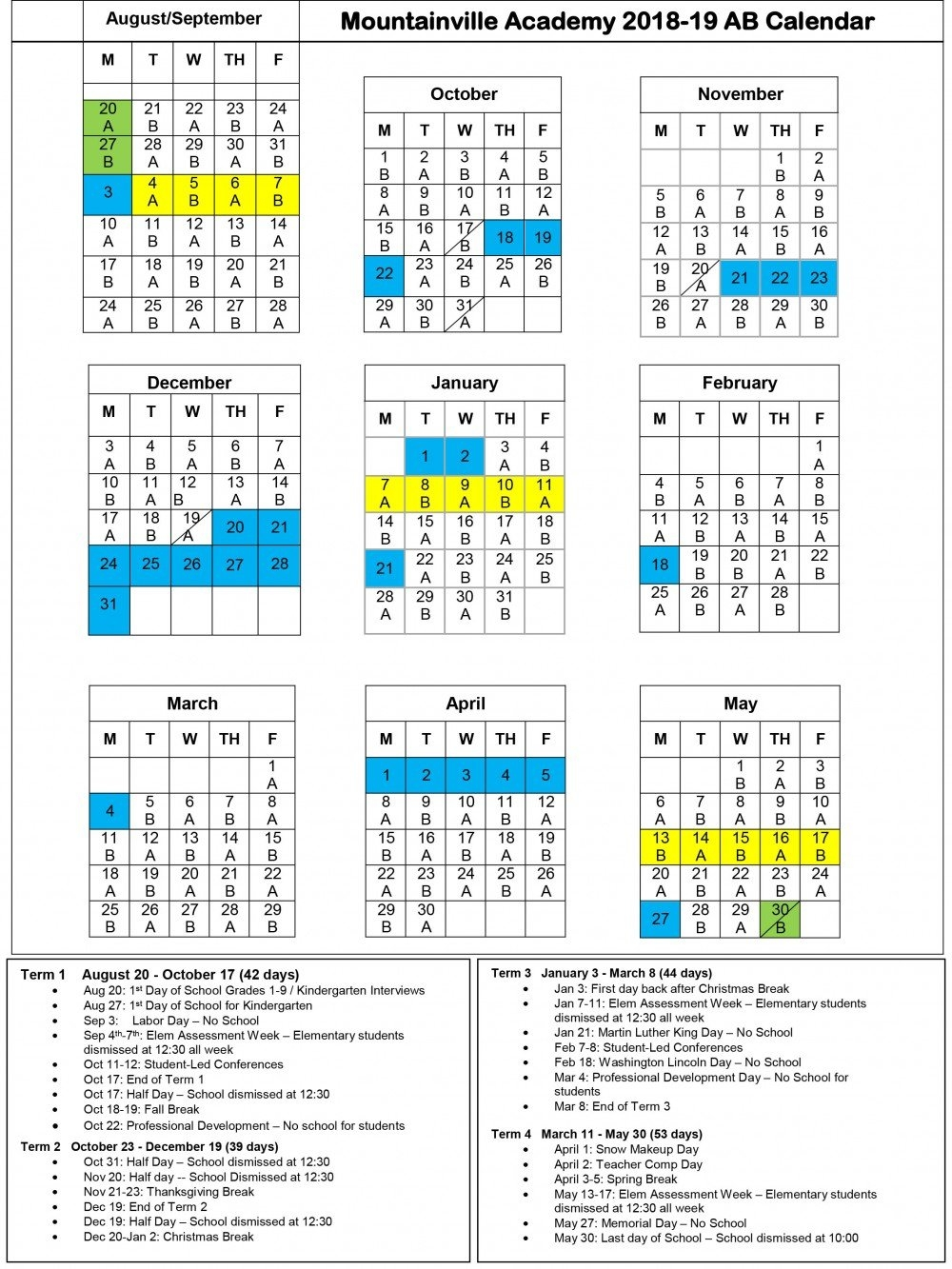 Mountainville Academy: Yearly Calendar Calendar 2019 Ut