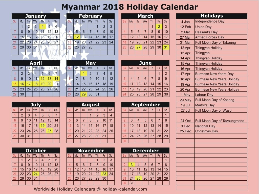 Myanmar 2018 / 2019 Holiday Calendar Calendar 2019 National Days