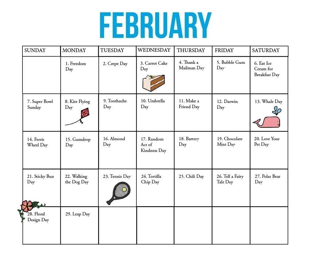 National Days Of The Year Calendar   Blank Calendar Template Calendar 2019 National Days