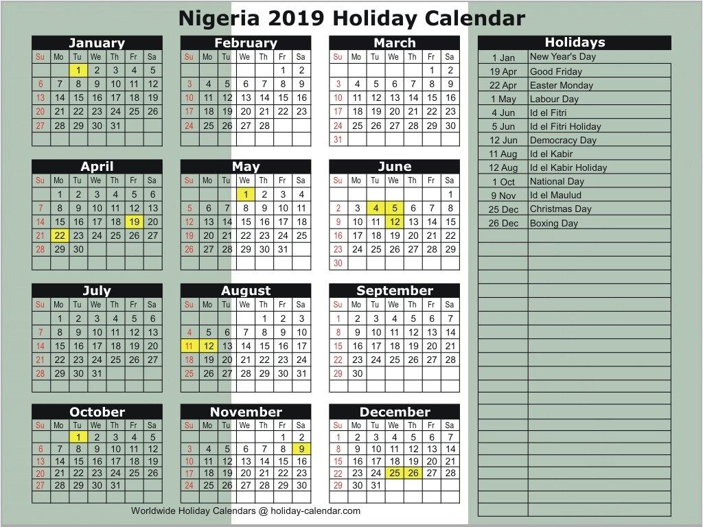 Nigeria 2019 / 2020 Holiday Calendar Calendar 2019 Nigeria