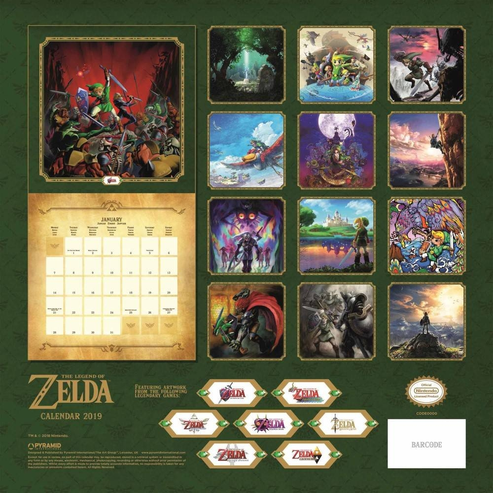 Nintendo - The Legend Of Zelda 2019 Square Wall Calendar, 2019 Wall Zelda Calendar 2019
