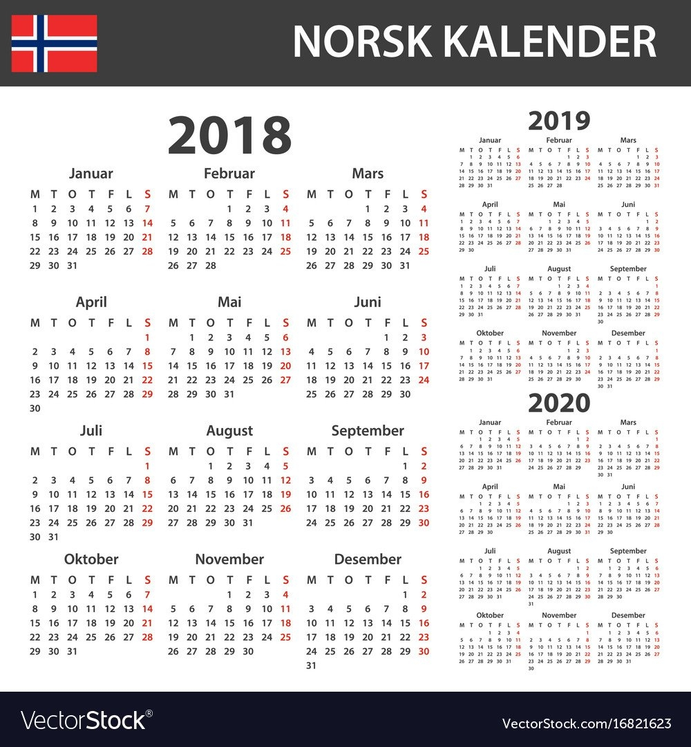 Norwegian Calendar For 2018 2019 And 2020 Vector Image Calendar 4 2019