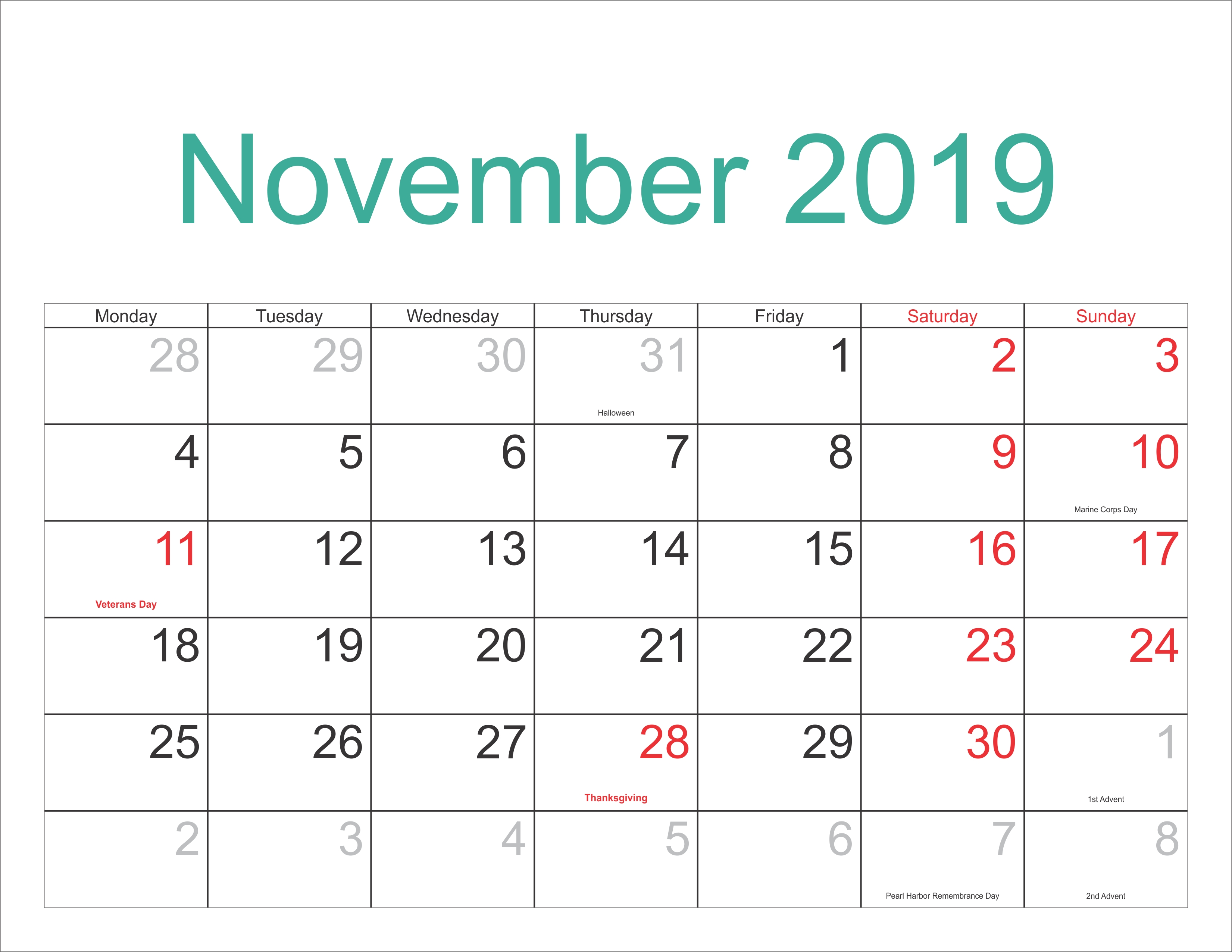 November 2019 Excel Calendar - Free November 2018 Calendar Calendar 2019 Excel Editable