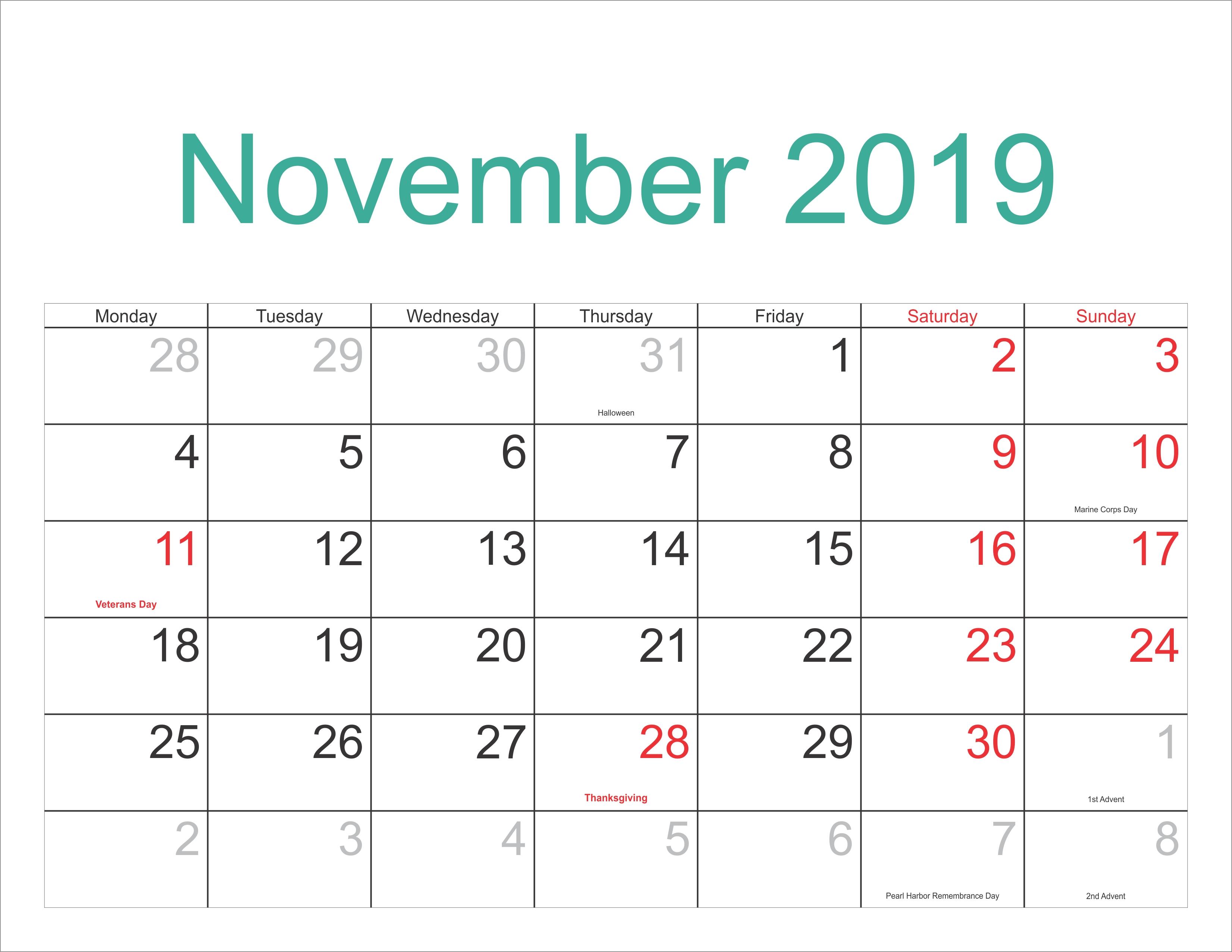 November 2019 Excel Calendar - Free November 2018 Calendar Calendar 2019 Purchase