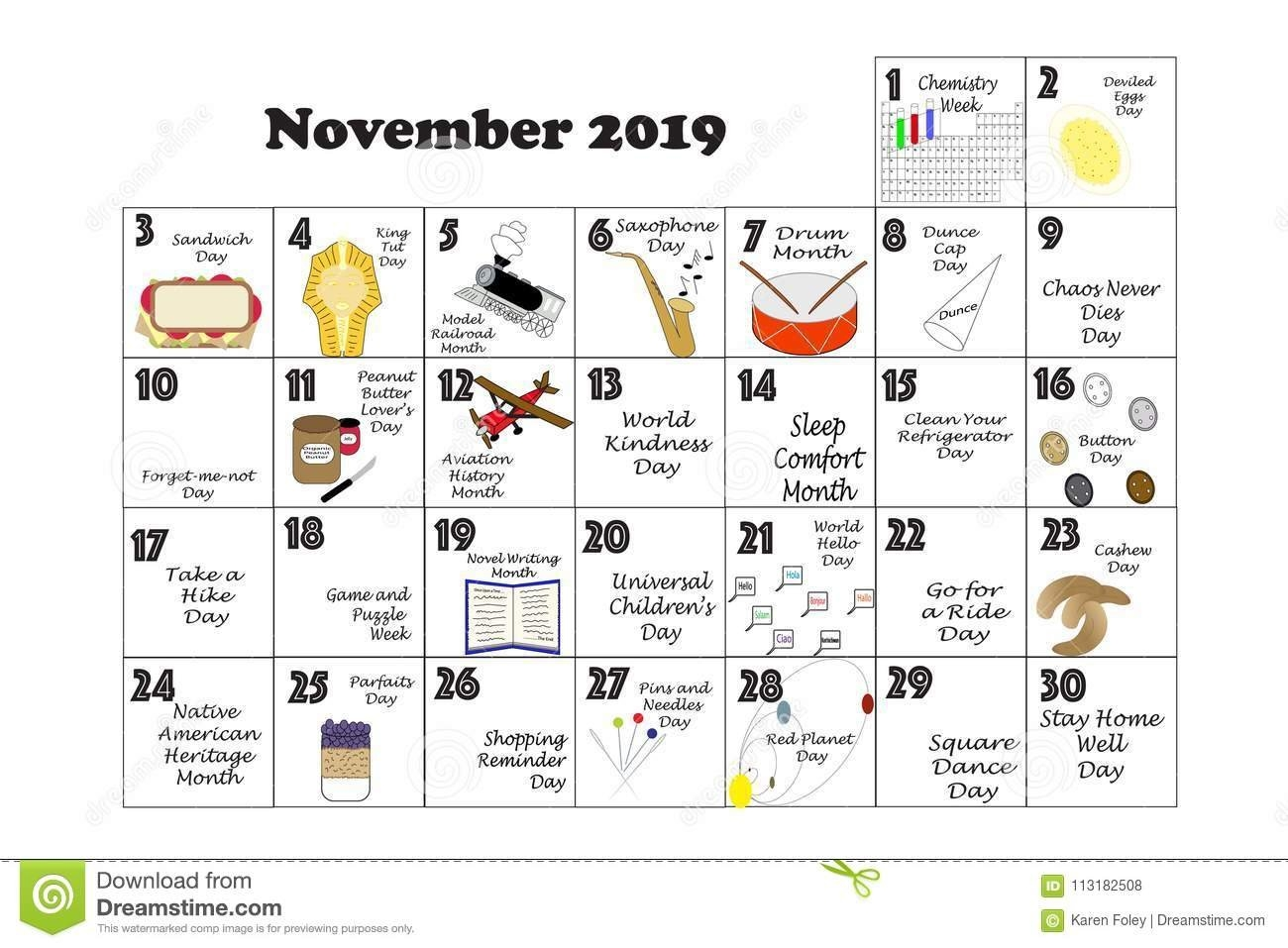 November 2019 Quirky Holidays And Unusual Events Stock Illustration Calendar 2019 Events