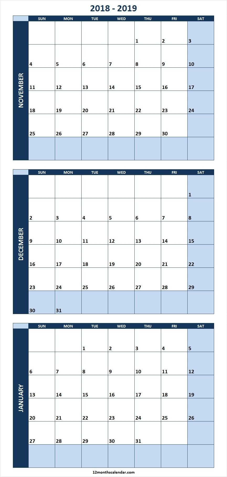 November December 2018 January 2019 Calendar Template Excel Editable Calendar 2019 Excel Editable