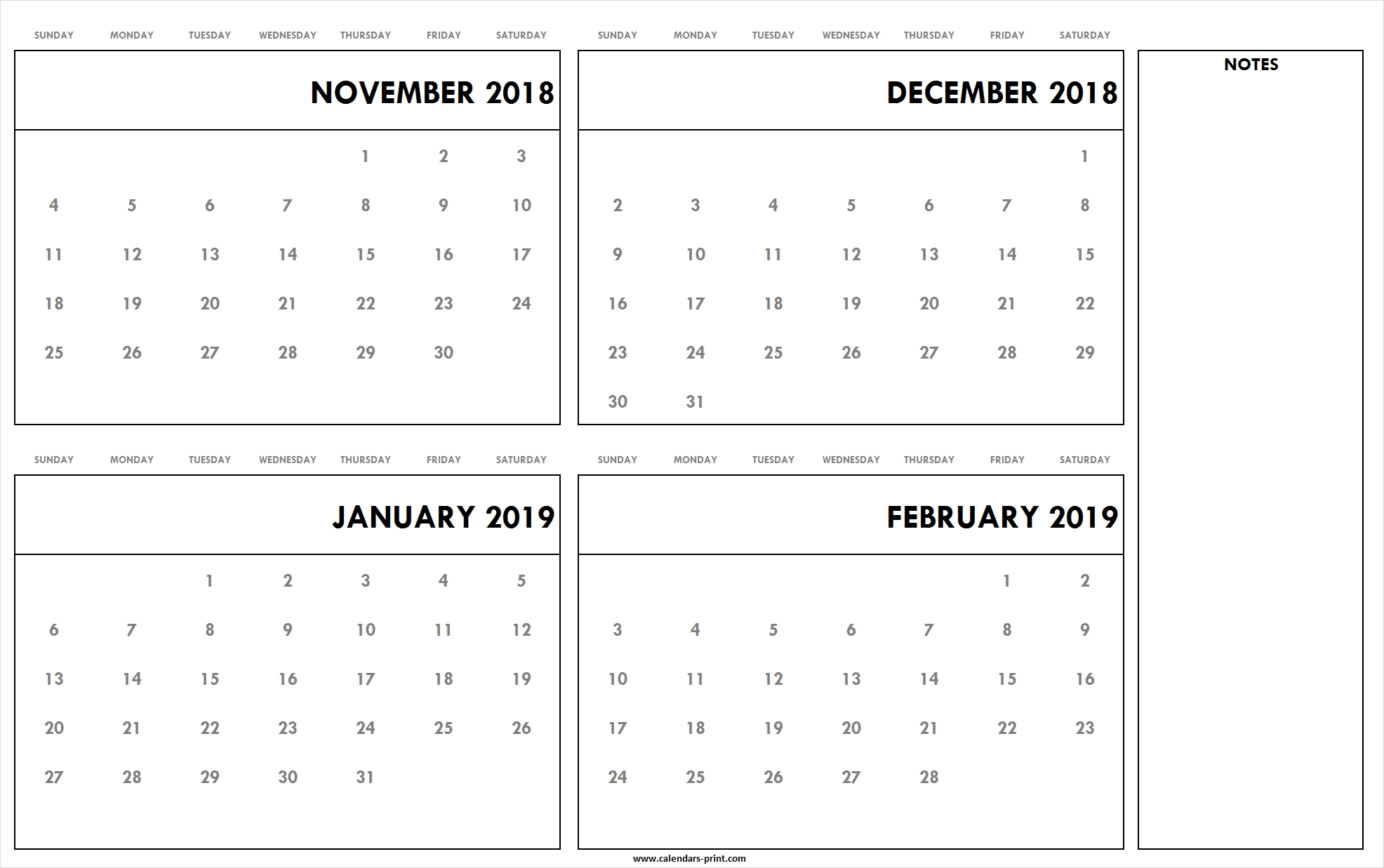 November To December 2018 January To February 2019 Calendar Calendar 2019 November December
