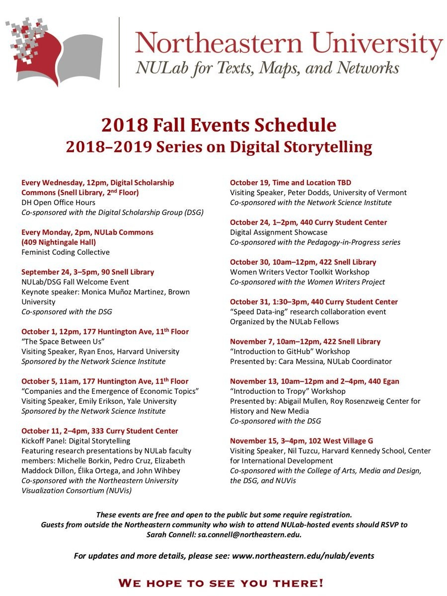 "Nulab On Twitter: ""the Nulab Fall Calendar Of Events Is Up! This Calendar 2019 Northeastern"