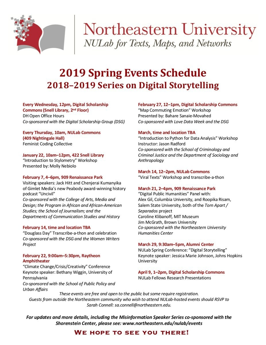 "Nulab On Twitter: ""we Are Delighted To Share The Nulab Spring 2019 Calendar 2019 Northeastern"