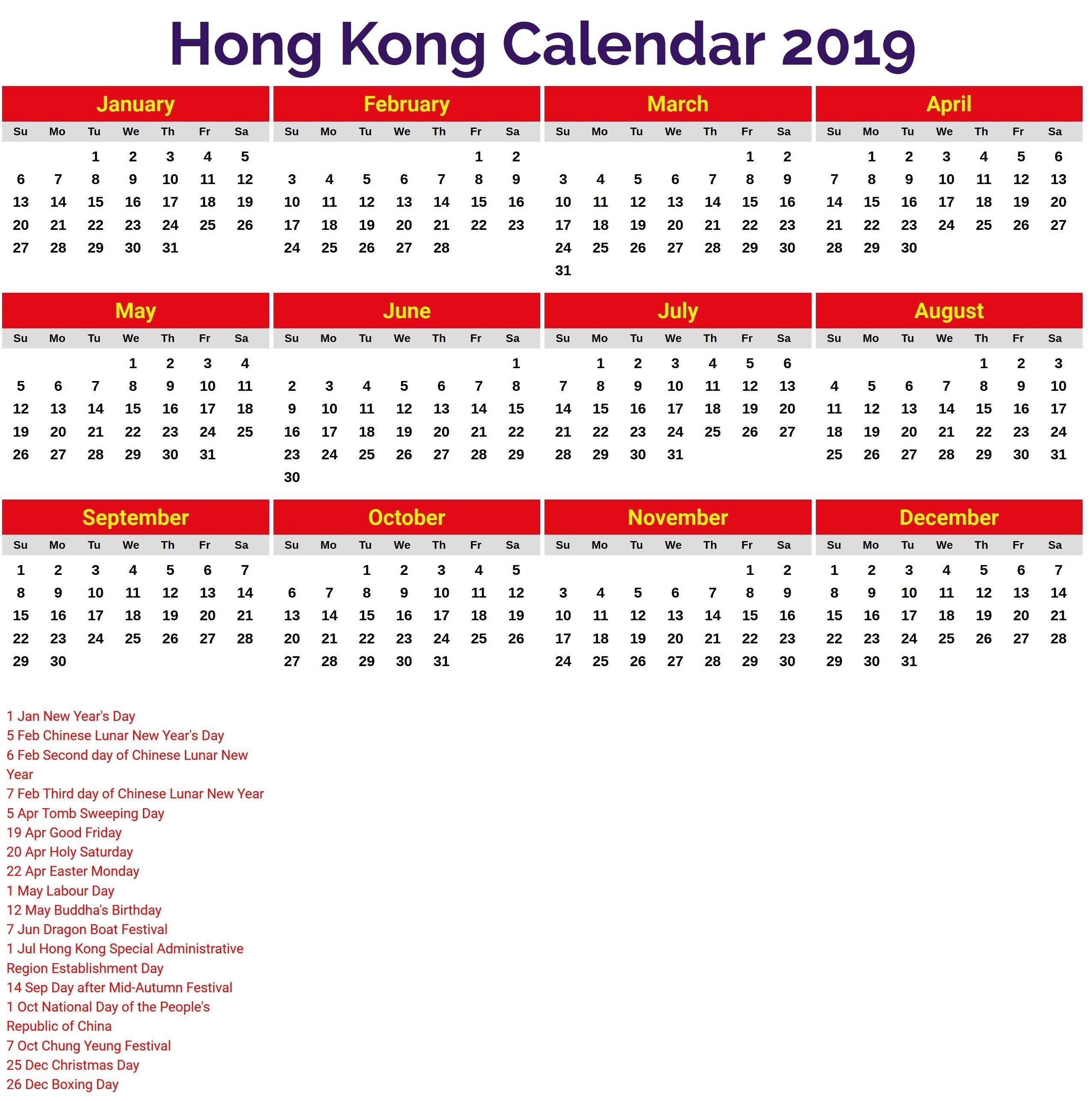October 2019 Calendar Hong Kong | Calendar Template Etknlik Calendar 2019 Excel Hong Kong