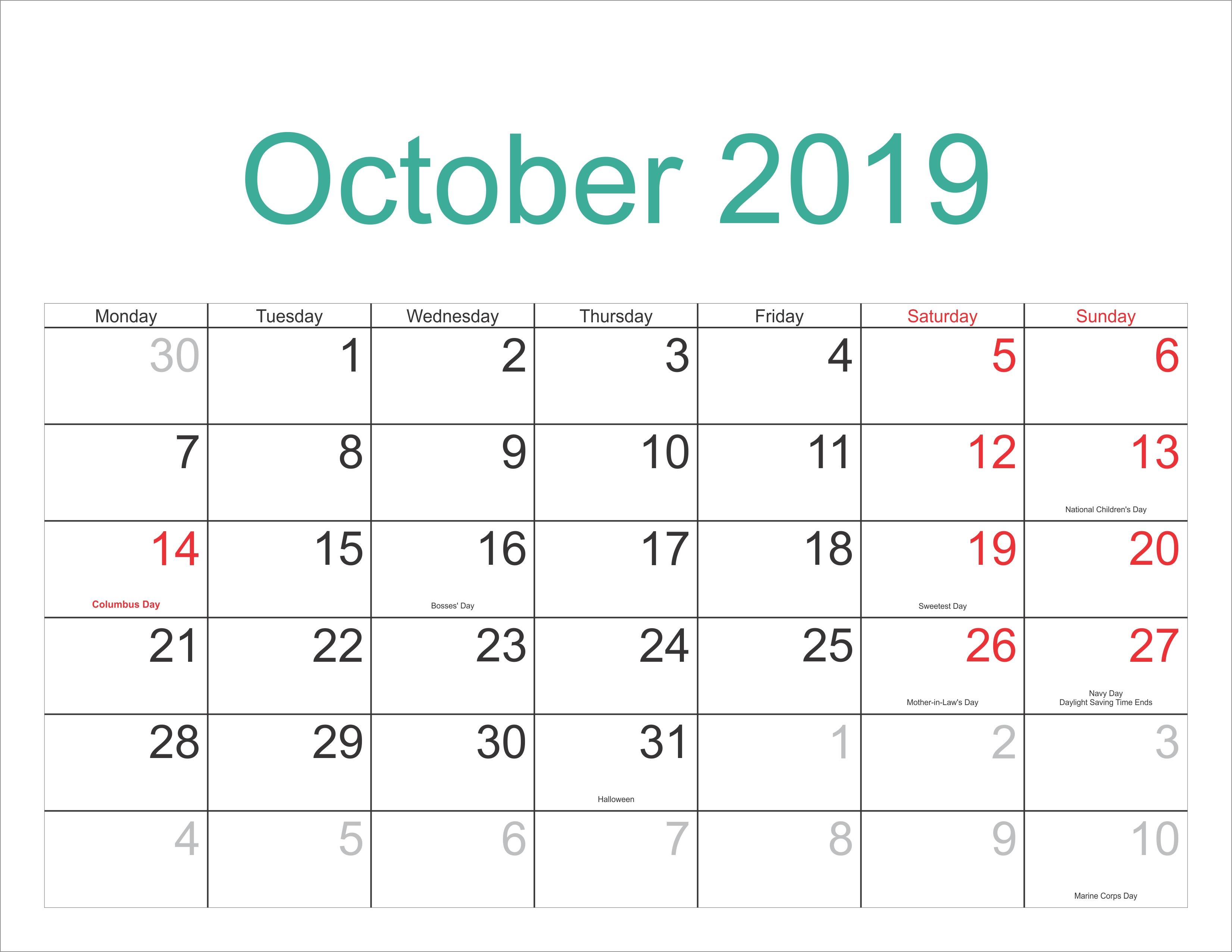 October 2019 Excel Calendar - October 2018 Printable Calendar Calendar 2019 Excel Editable