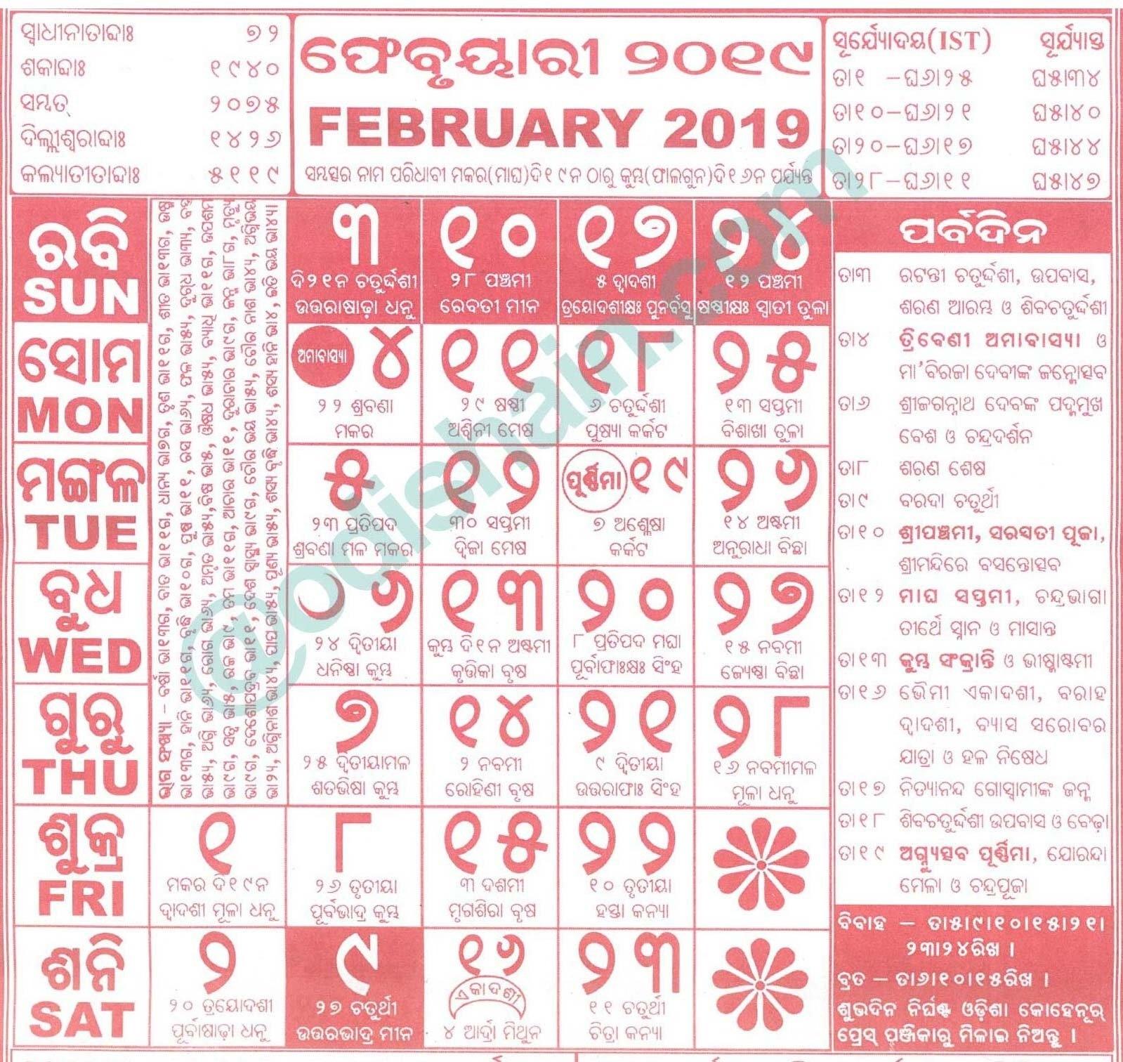 Odia Calendar February 2019 | Template Calendar Printable Odia Calendar 2019