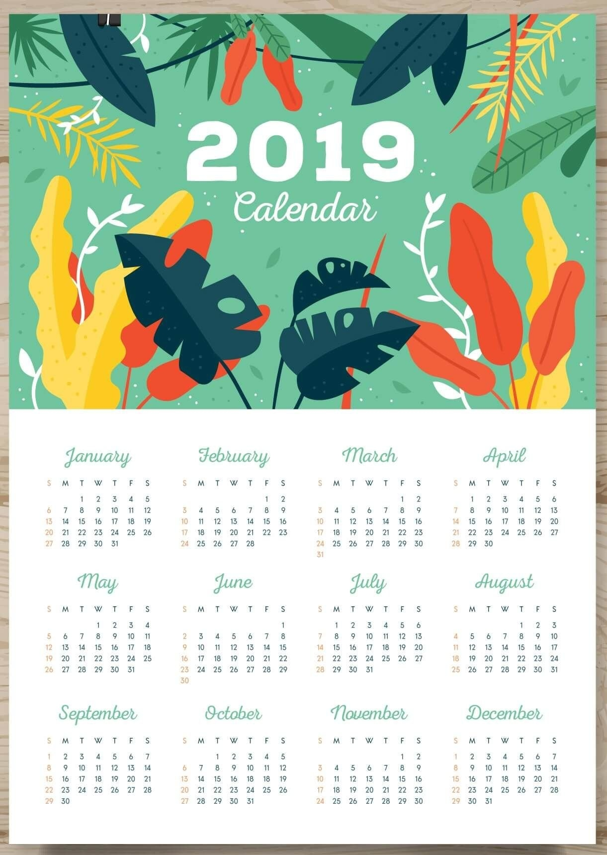 One Page Calendar 2019 #2019Calendars | 2019 Calendar | Calendar 1 Page Yearly Calendar 2019