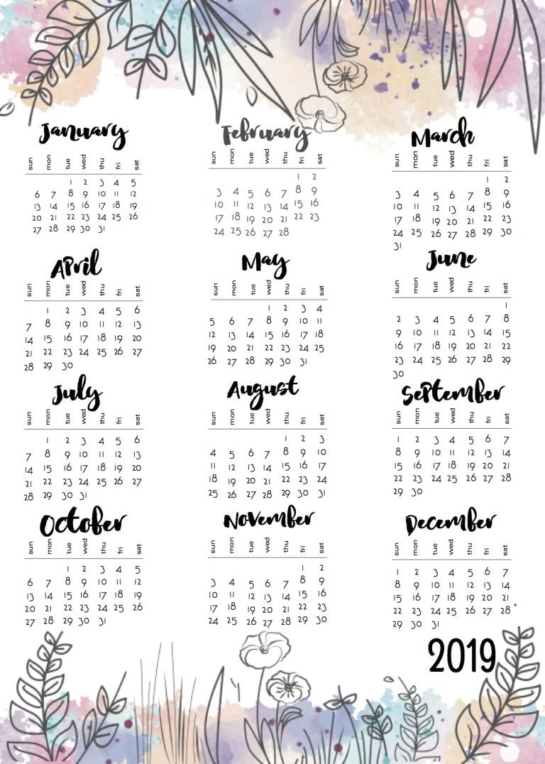 One Sheet Calendars For 2018 And 2019 | 2019 Calendar | Pinterest 2019 Calendar 1 Sheet