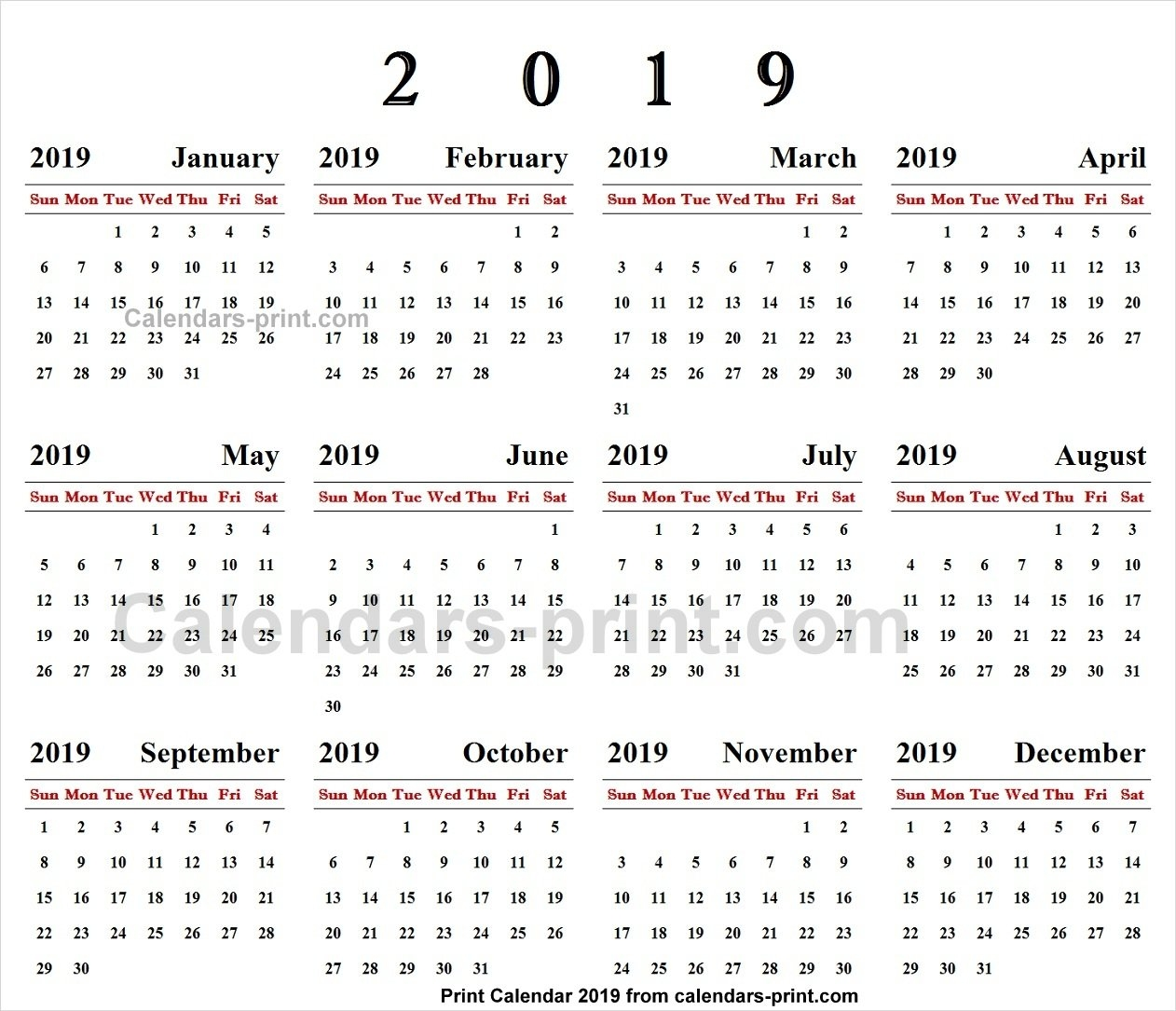 Online Calendar 2019 Printable Template With Notes | Holidays Calendar 2019 Order Online