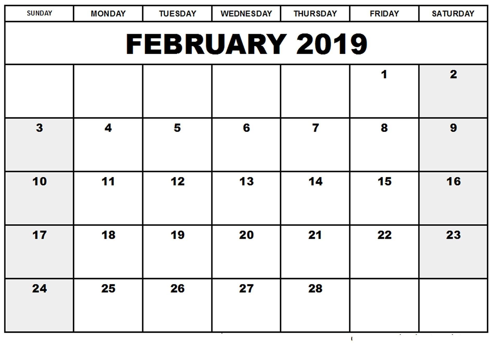 Online February 2019 Calendar Editable | Free Online Calendars Calendar 2019 Buy Online