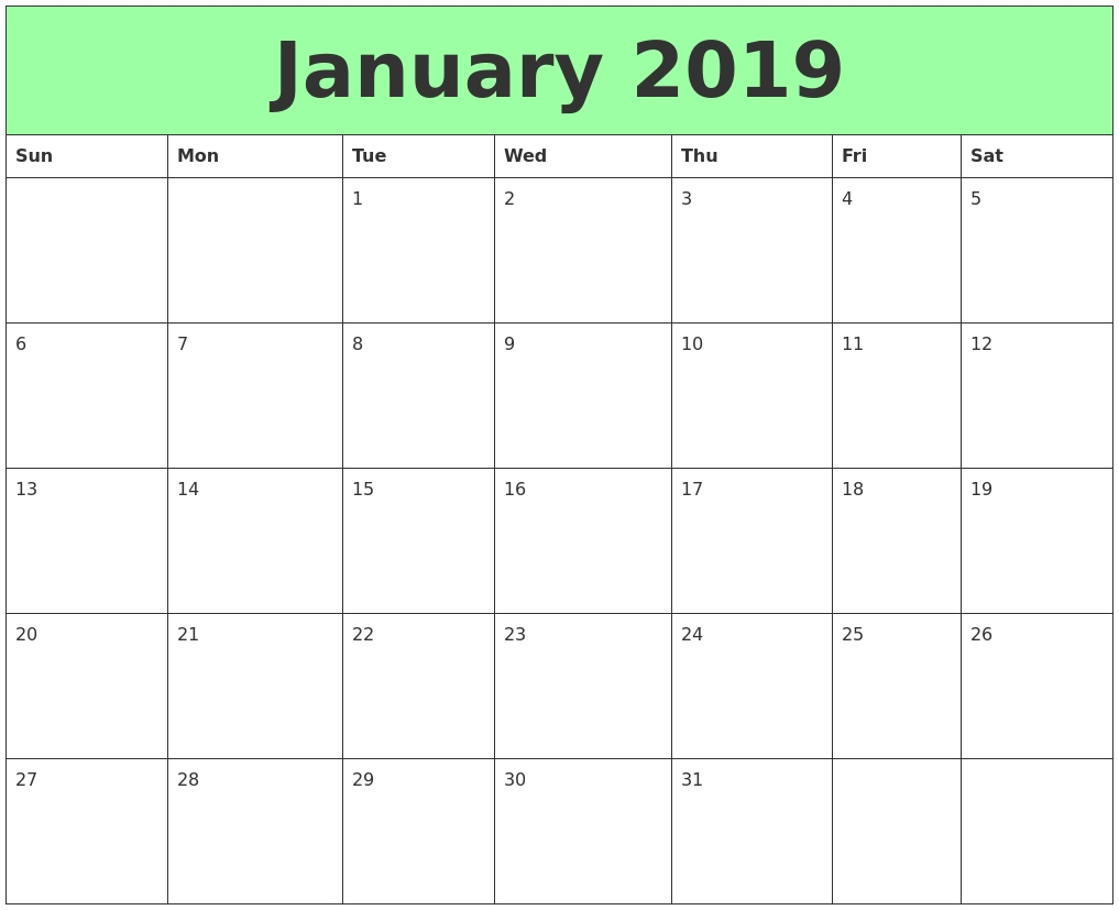 Online January 2019 Calendar Holidays | Free Online Calendars Calendar 2019 Buy Online