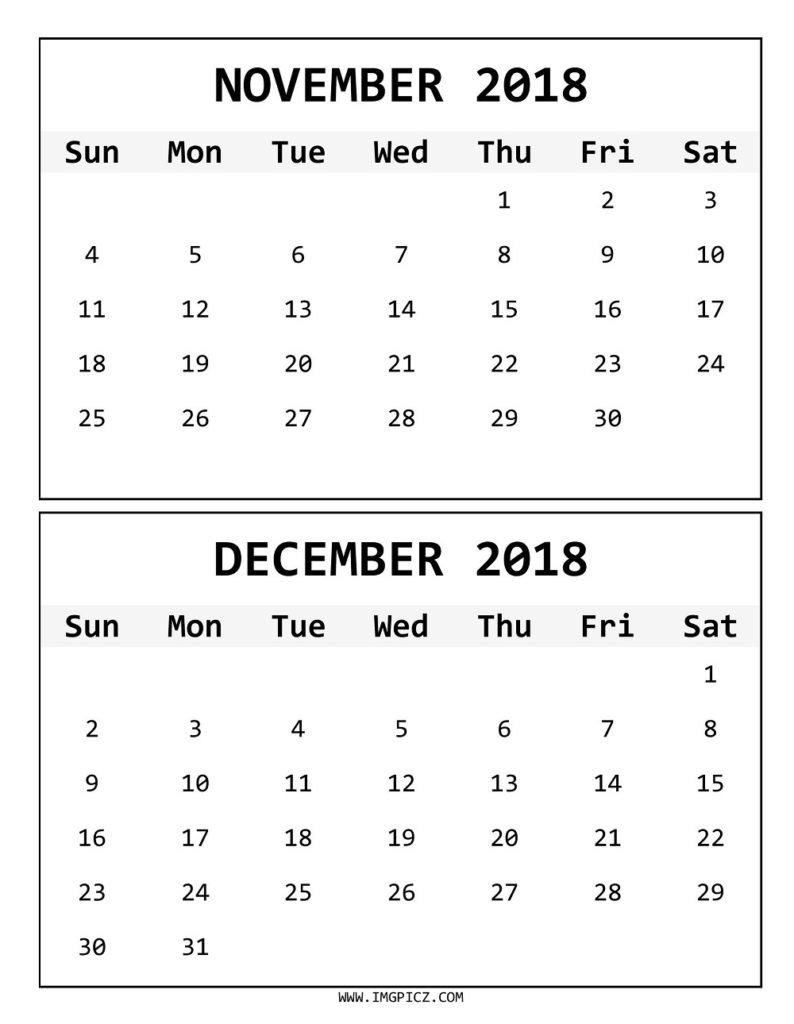 Online November December 2018 Calendar - Printable Calendar 2019 Calendar 2019 November December