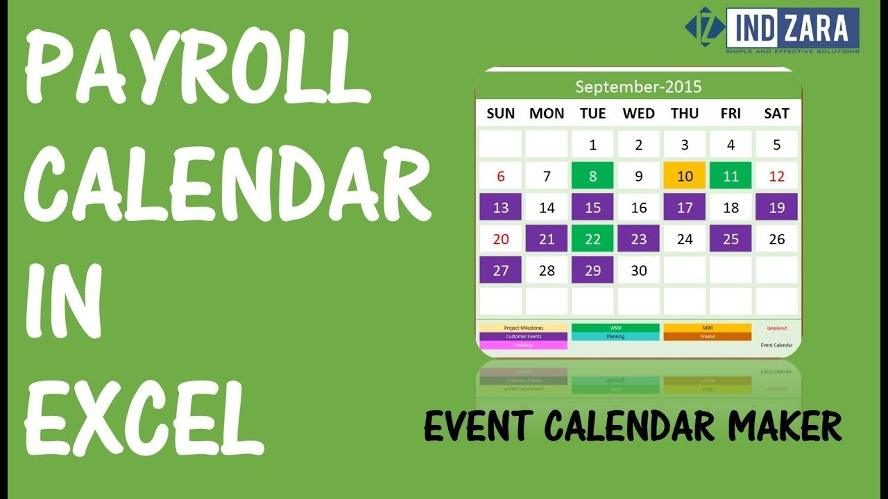Payroll Calendar Using Event Calendar Maker Excel Template - Youtube 4 Weekly Pay Calendar 2019