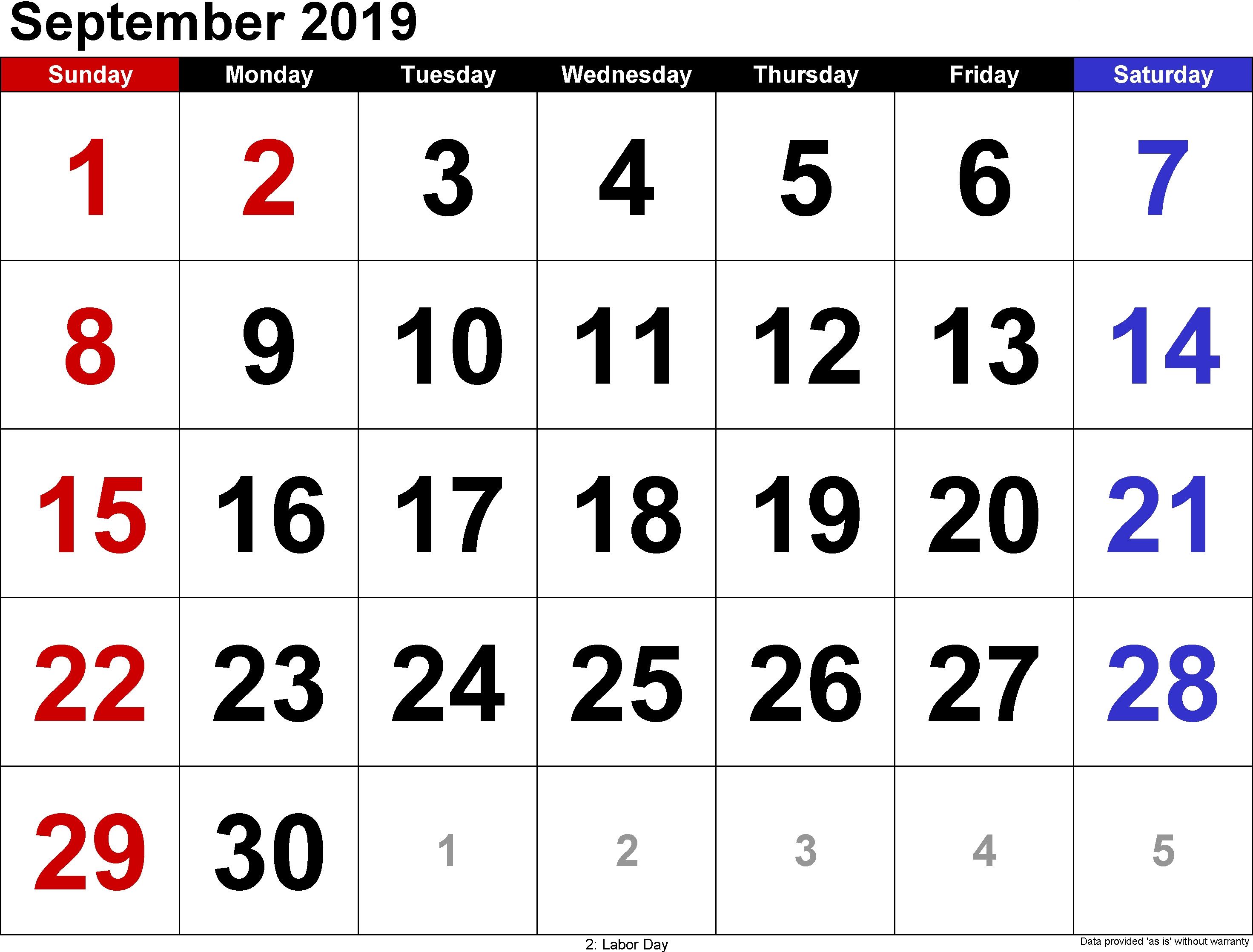 Pdf 2019 September Calendar | September 2018 Calendar Calendar 2019 September