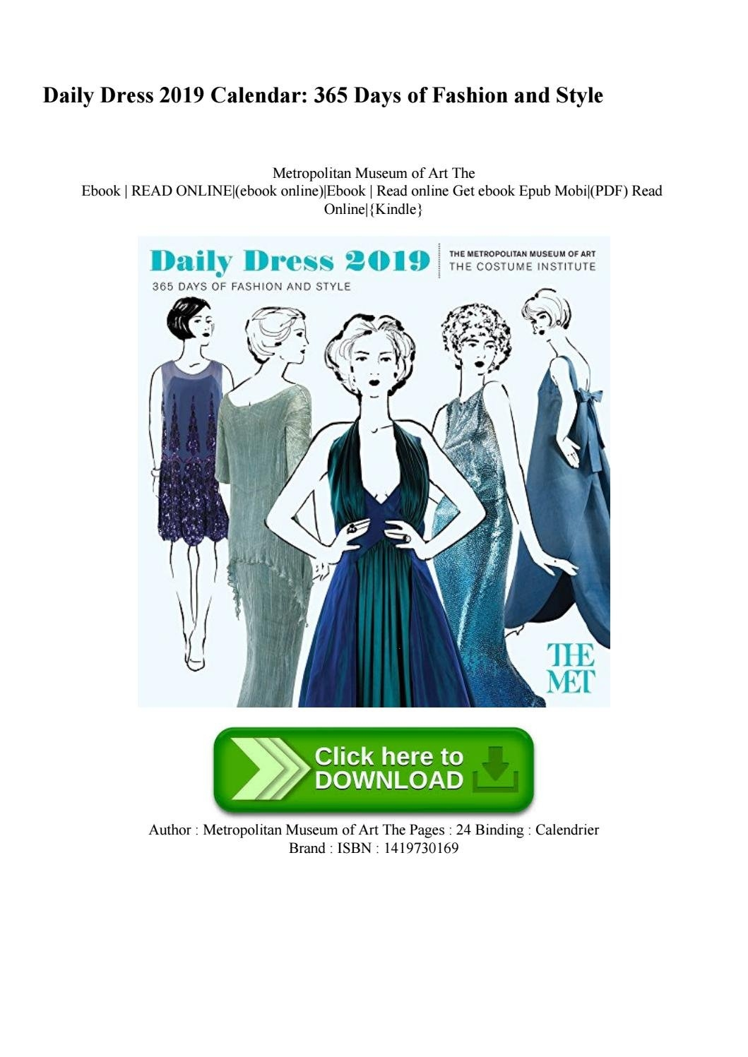 Pdf) Daily Dress 2019 Calendar 365 Days Of Fashion And Style Free 2019 Calendar 365 Pdf