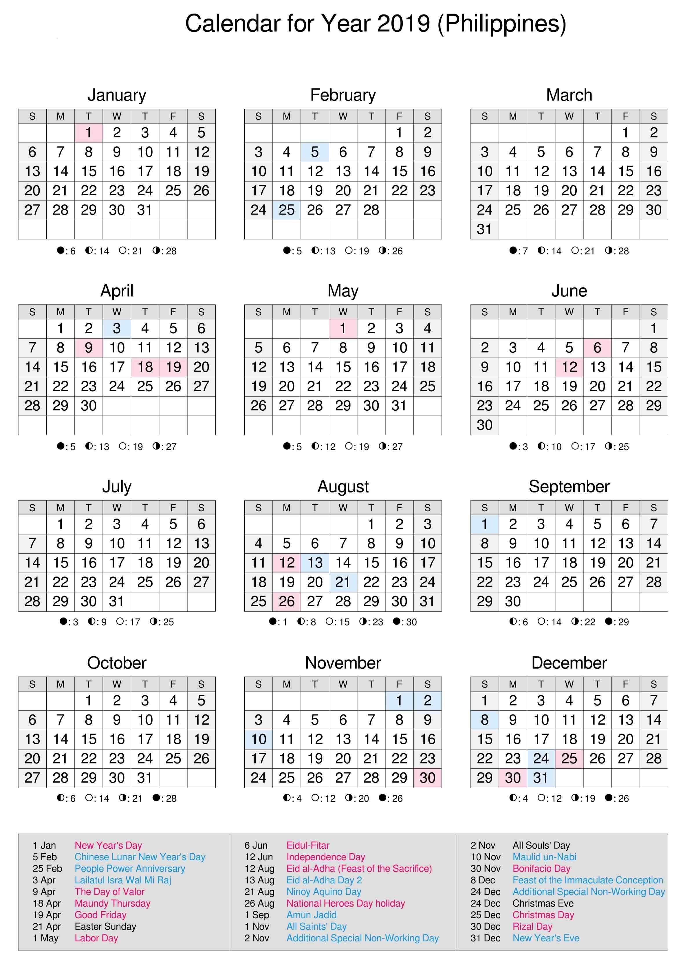 Philippines 2019 Calendar | Calendar 2019 | Calendar, 2019 Calendar Calendar Year 2019 Philippines