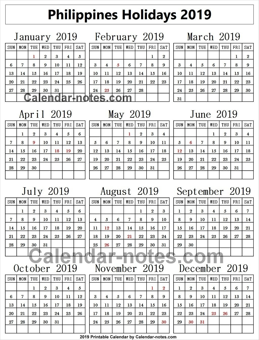 Philippines Holiday 2019 Calendar | 2019 Philippines Calendar Template Calendar Year 2019 Philippines