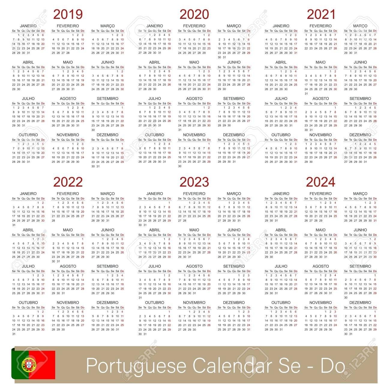 Portuguese Calendar 2019 - 2024, Week Starts On Monday, Simple Calendar 2019 Qu
