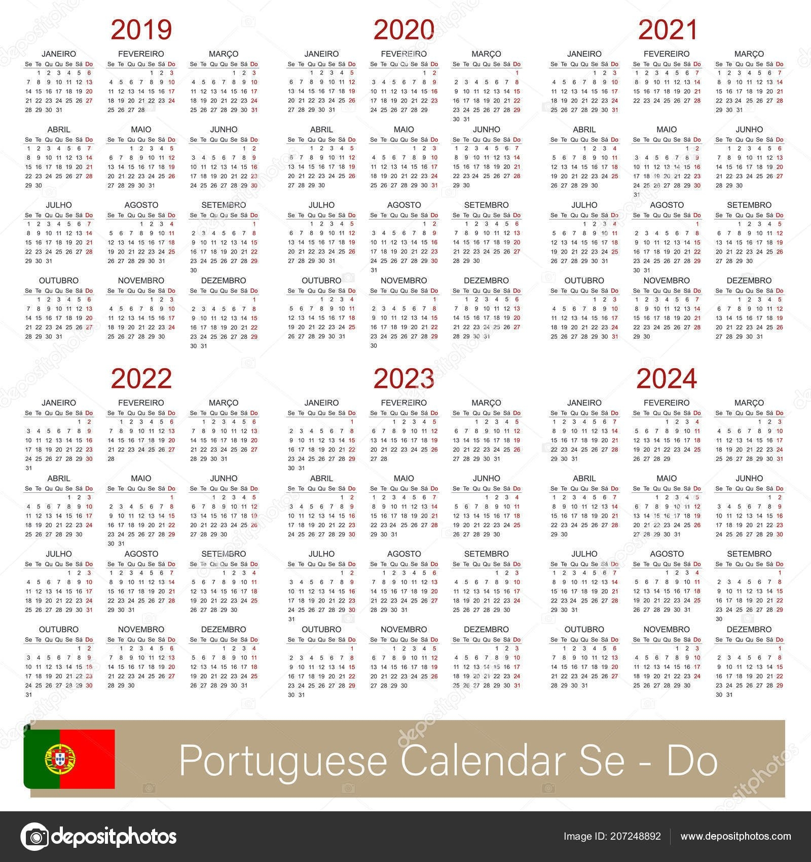 Portuguese Planning Calendar 2019 2024 Week Starts Monday Simple Calendar 2019 Qu