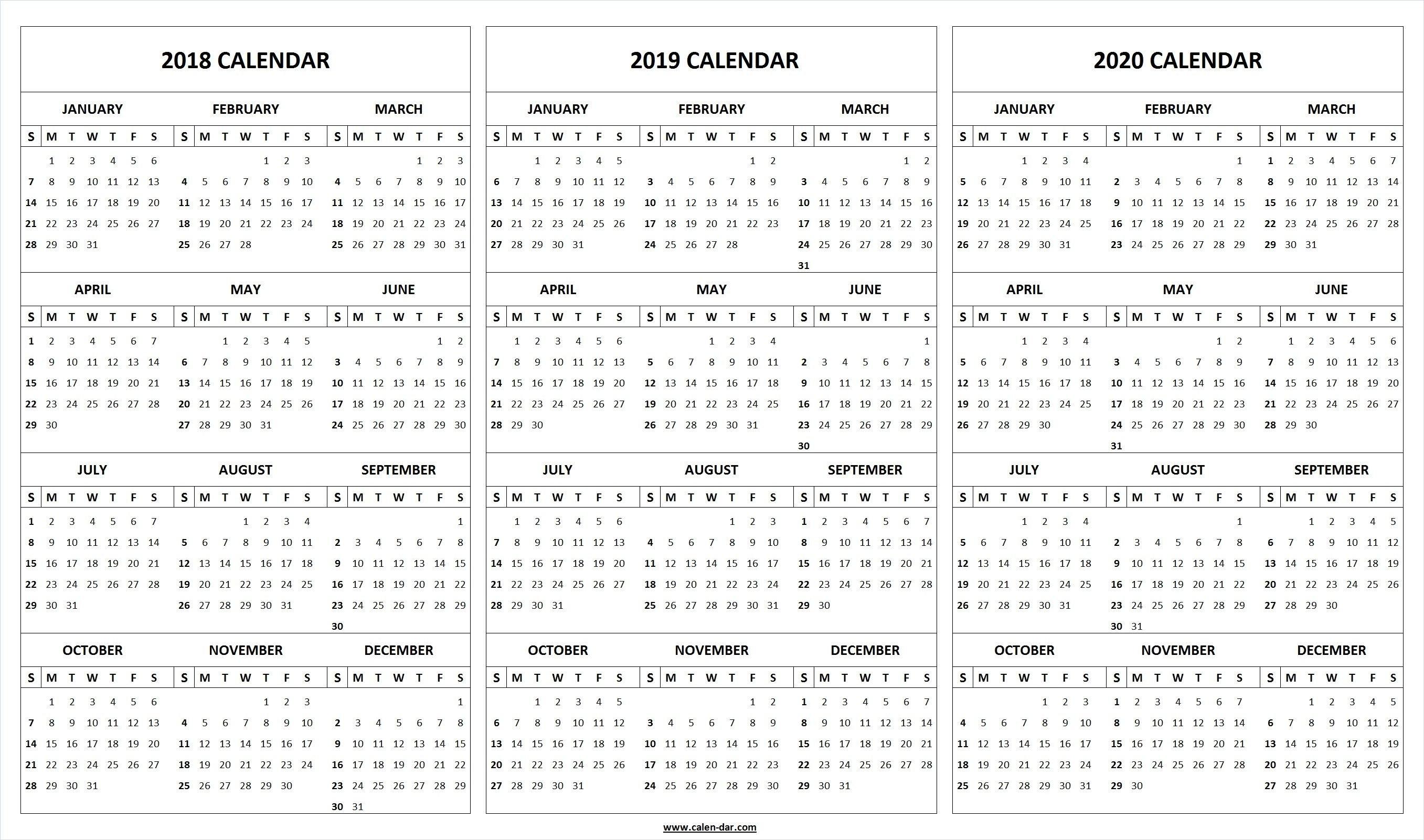 Print Blank 2018 2019 2020 Calendar Template | Organize! | Pinterest Calendar 2019 Microsoft