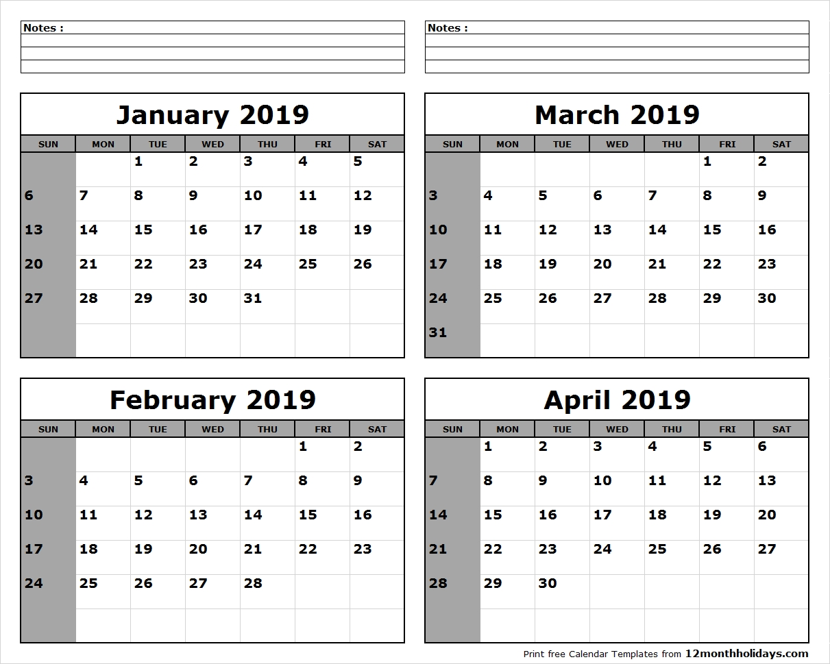 Print January To April 2019 Calendar Template | 4 Month Calendar Calendar 2019 January To April