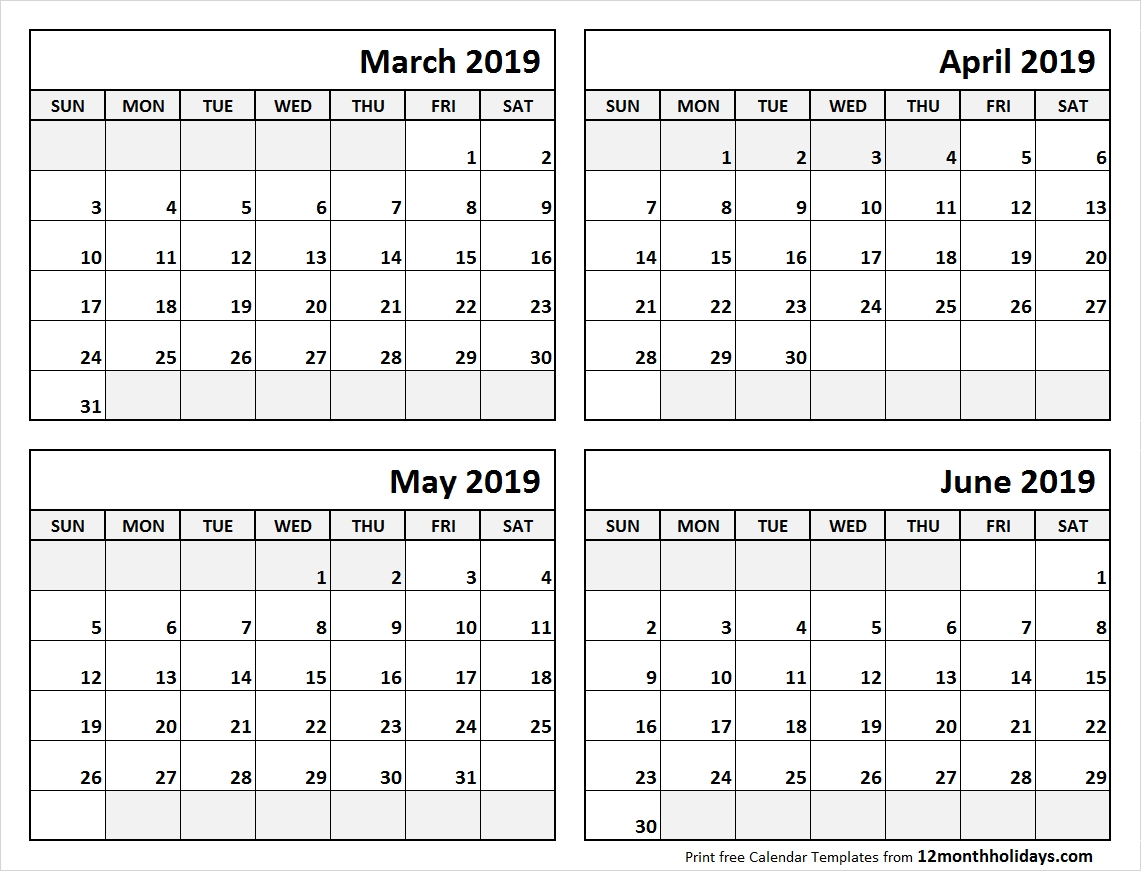 Print March To June 2019 Calendar Template | 4 Month Calendar 4 Month Calendar 2019