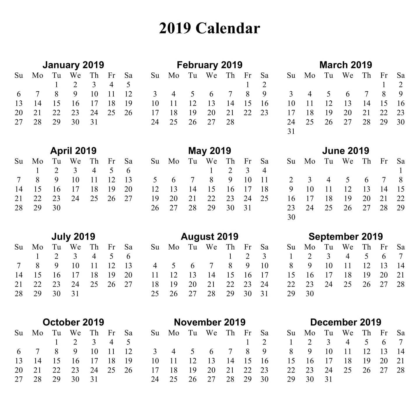 Print Off Yearly Calendar 2019 | Free Calendar Templates Calendar 2019 Small