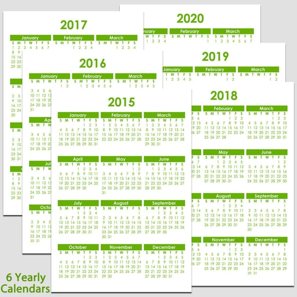Printable 2015 To 2020 Yearly Calendar – 8 1/2″ X 11″. The Calendars 2019 Calendar 8 1/2 X 11