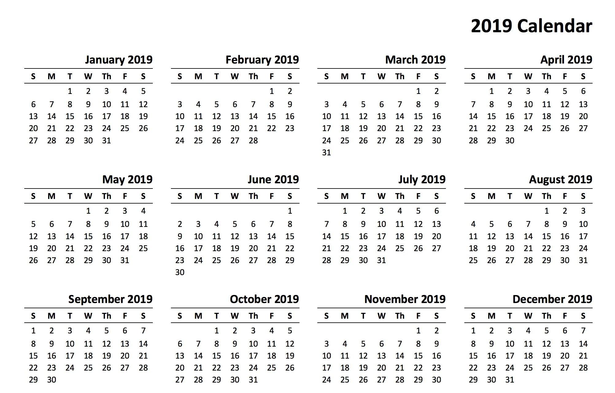 Printable 2019 Calendar | Aaron The Artist 2019 Calendars